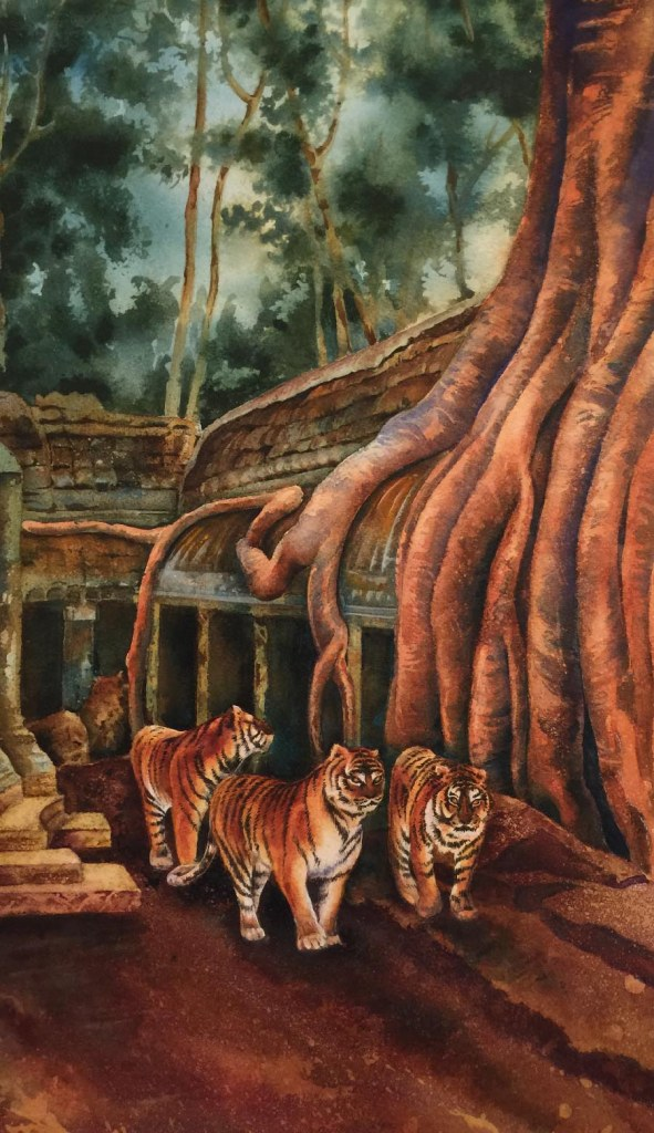 Imagining these tigers claiming the abandoned temples of Angkor