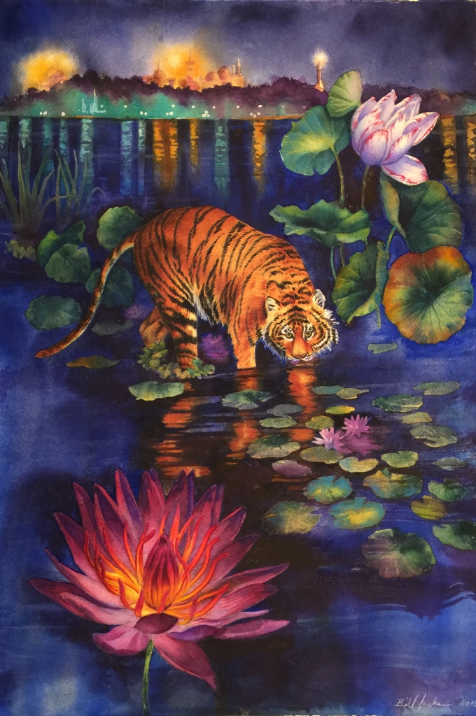 tiger among the water plants