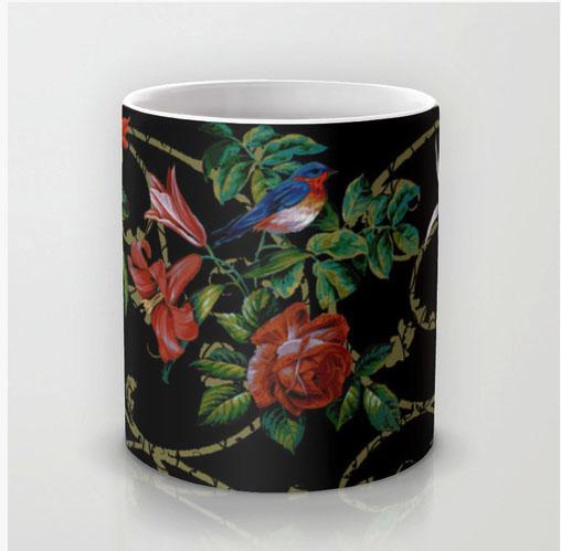 Avian Arabesque Ebony Mug Society6
